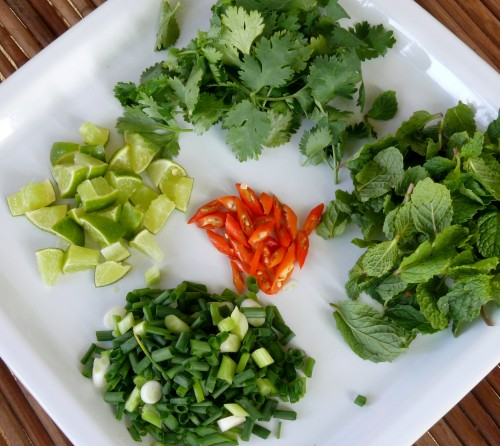 Cilantro, mint, scallions, lime wedges and chili