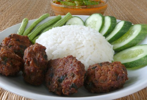 Pork balls. Frying requires a larger amount of essential oil