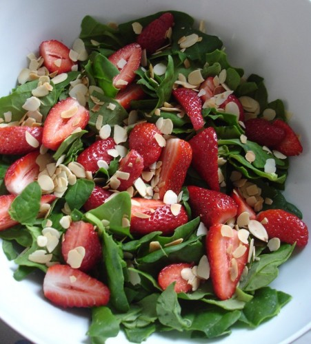 Spinach, strawberries, almonds
