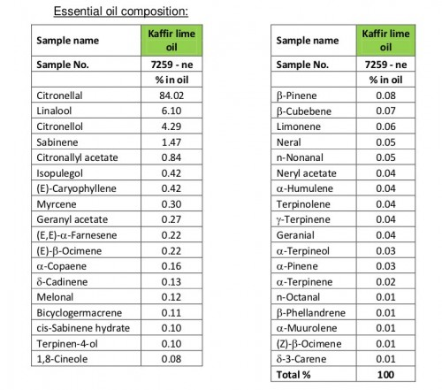 TFE Kaffir lime leaf oil analysis