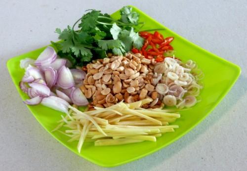 chili, lemon grass, ginger, shallots, coriander, peanuts